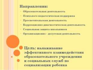 Цель: налаживание эффективного взаимодействия образовательного учреждения и с