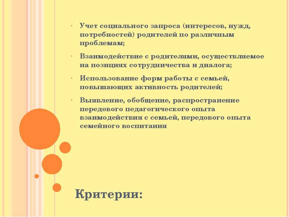 Критерии: Учет социального запроса (интересов, нужд, потребностей) родителей...