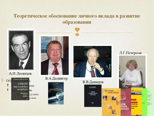 Теоретическое обоснование личного вклада в развитие образования А.Н.Леонтьев...