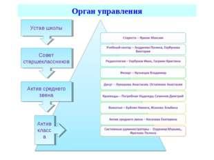 Орган управления Совет старшеклассников Актив среднего звена Актив класса Уст