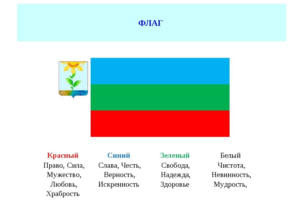 ФЛАГ             Красный Синий Зеленый Белый Право, Сила, М...