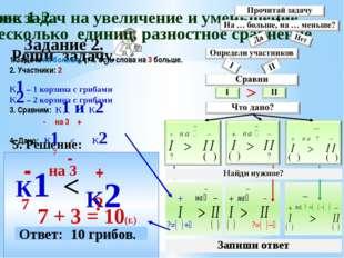 Задание 2. Реши задачу. 5. Решение: К1 - 7 K2 + 7 + 3 = 10(г.) < на 3 - Ответ