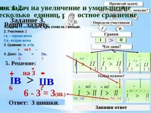 Задание 3. Реши задачу. 5. Решение: Iв + 6 IIв - 6 - 3 = 3(ш.) > на 3 - Ответ