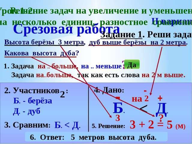 Срезовая работа Высота берёзы 3 метра, II вариант Задание 1. Реши задачу. Как...