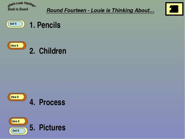 1. Pencils 2. Children 4. Process 5. Pictures Back to Board View It View It V...