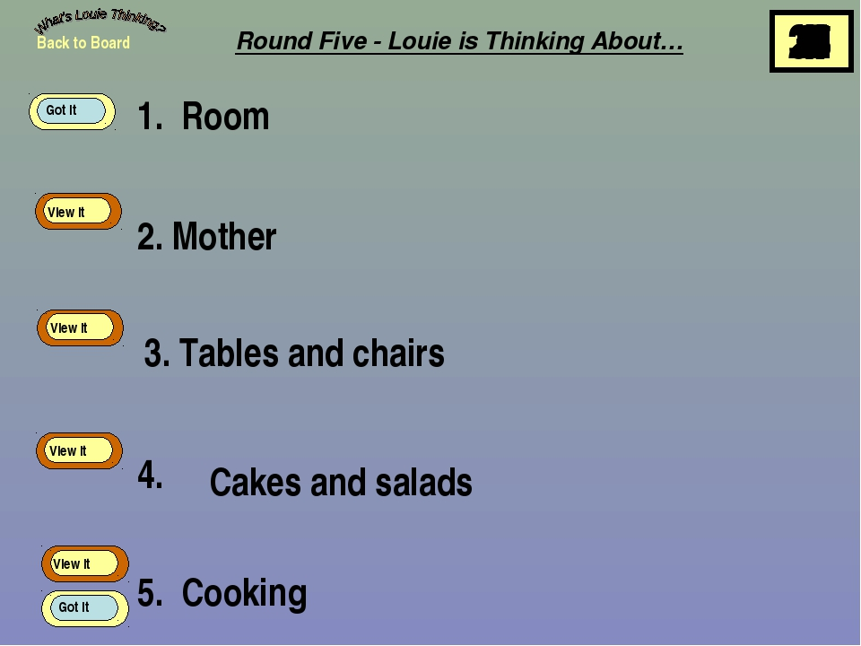 1. Room 2. Mother 3. Tables and chairs 4. 5. Cooking Back to Board View It Vi...