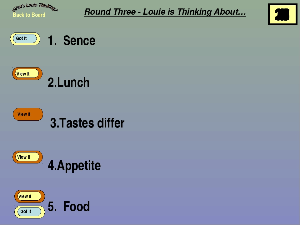 1. Sence 2.Lunch 3.Tastes differ 4.Appetite 5. Food Back to Board View It Vie...