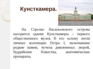 Кунсткамера.  На Стрелке Васильевского острова находится здание Кунсткам