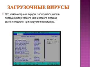 Это компьютерные вирусы, записывающиеся в первый сектор гибкого или жесткого