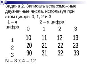 Задача 2. Записать всевозможные двузначные числа, используя при этом цифры 0,