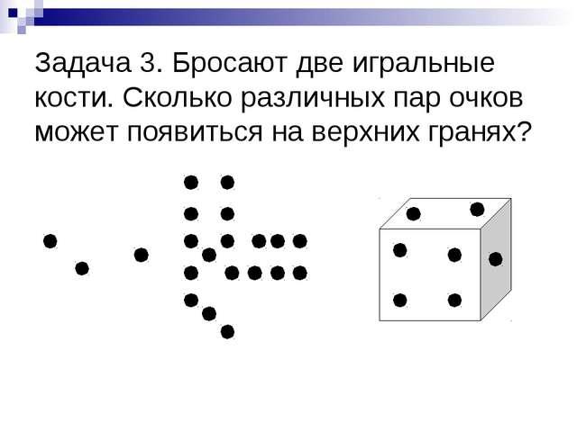Задача 3. Бросают две игральные кости. Сколько различных пар очков может появ...