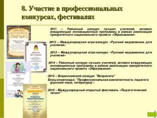 8. Участие в профессиональных конкурсах, фестивалях 2011 – Районный конкур
