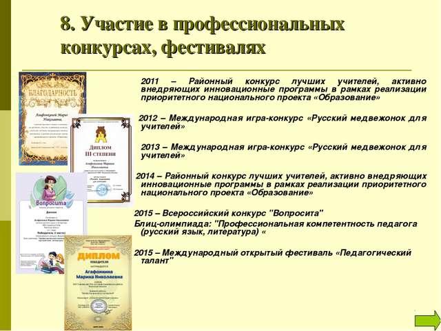 8. Участие в профессиональных конкурсах, фестивалях 2011 – Районный конкур...