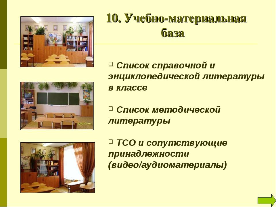 10. Учебно-материальная база Список справочной и энциклопедической литерату...