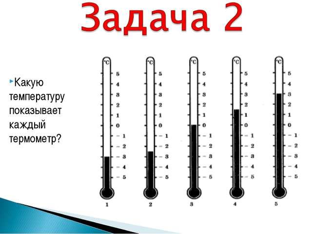 Какую температуру показывает каждый термометр?