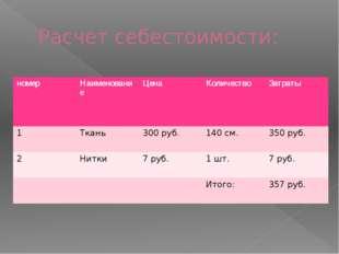 Расчет себестоимости: номер Наименование Цена Количество Затраты 1 Ткань 300