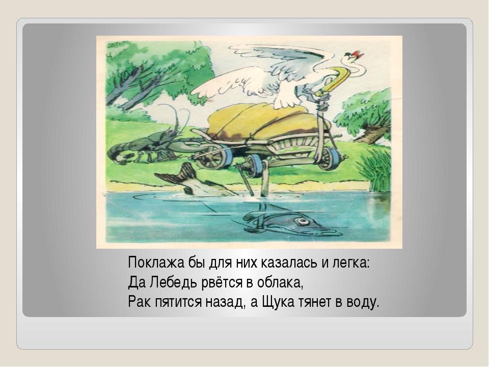 Поклажа бы для них казалась и легка: Да Лебедь рвётся в облака, Рак пятится н...