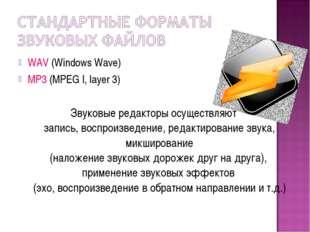WAV (Windows Wave) MP3 (MPEG I, layer 3) Звуковые редакторы осуществляют запи
