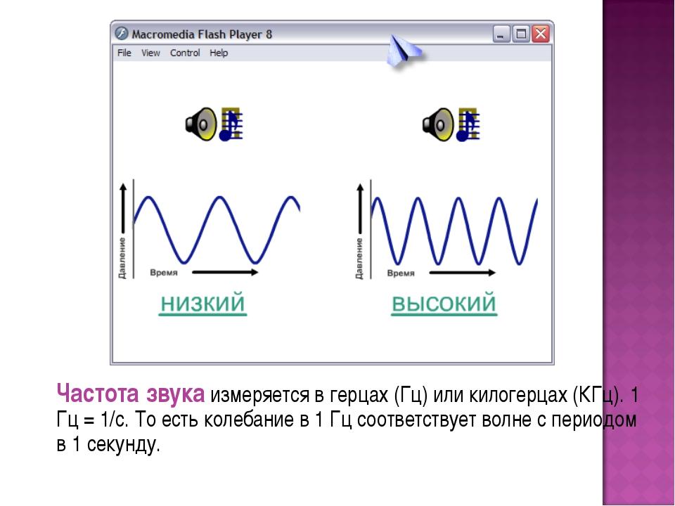 Частота звука измеряется в герцах (Гц) или килогерцах (КГц). 1 Гц = 1/с. То...