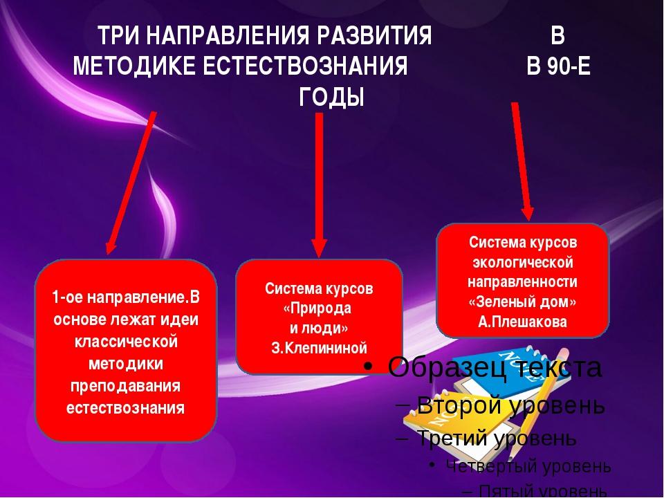 ТРИ НАПРАВЛЕНИЯ РАЗВИТИЯ В МЕТОДИКЕ ЕСТЕСТВОЗНАНИЯ В 90-Е ГОДЫ 1-ое направлен...