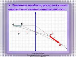 5. Линейный предмет, расположенный параллельно главной оптической оси. A B B'