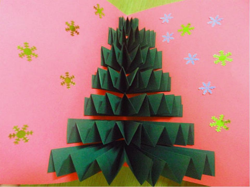 Новогодняя открытка своими руками с елкой