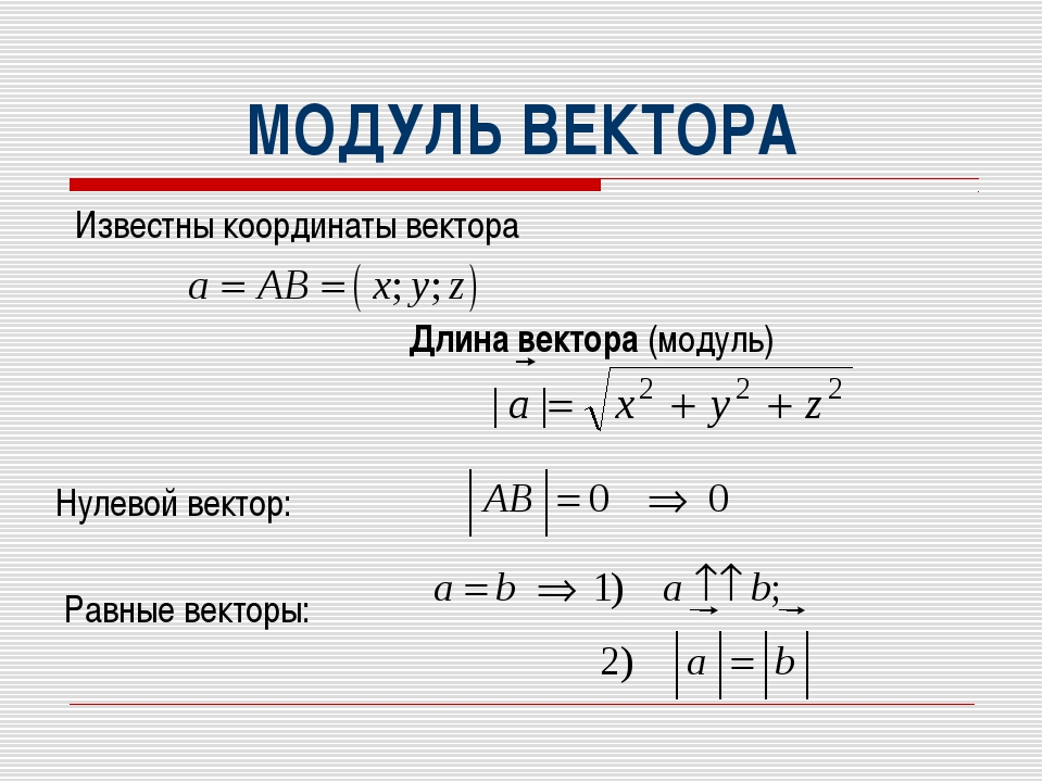МОДУЛЬ ВЕКТОРА Известны координаты вектора Длина вектора (модуль) Нулевой ве...