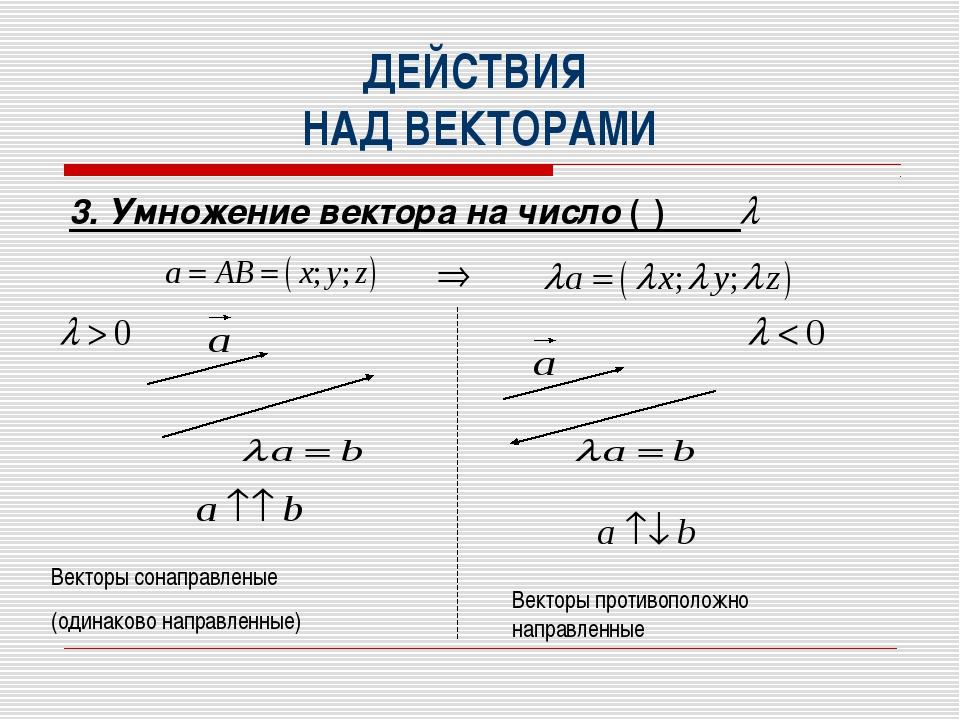 ДЕЙСТВИЯ НАД ВЕКТОРАМИ 3. Умножение вектора на число ( ) Векторы сонаправлены...