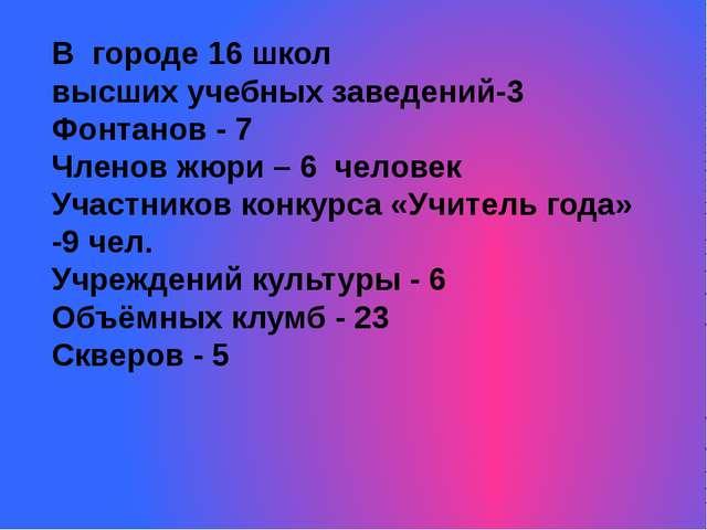 В городе 16 школ высших учебных заведений-3 Фонтанов - 7 Членов жюри – 6 чело...