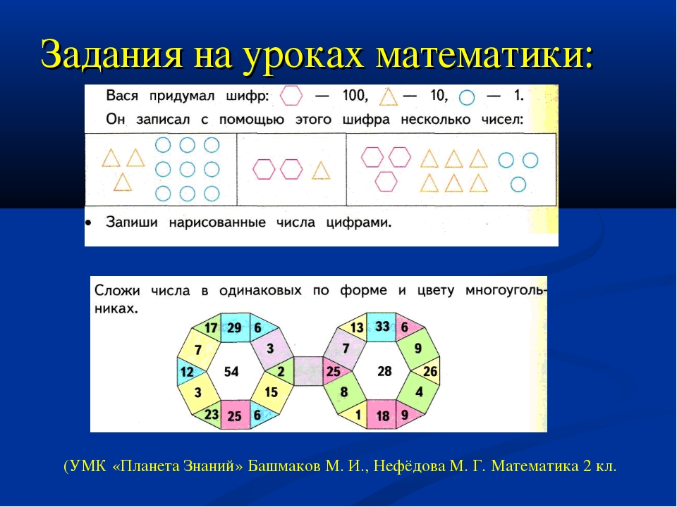 Задания на уроках математики: (УМК «Планета Знаний» Башмаков М. И., Нефёдова...
