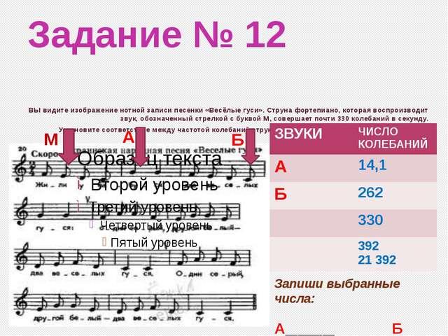 Задание № 12 ВЫ видите изображение нотной записи песенки «Весёлые гуси». Стру...