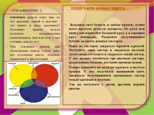 УПРАЖНЕНИЕ 1 основных красок тоже три, но это красный, синий и желтый - это в