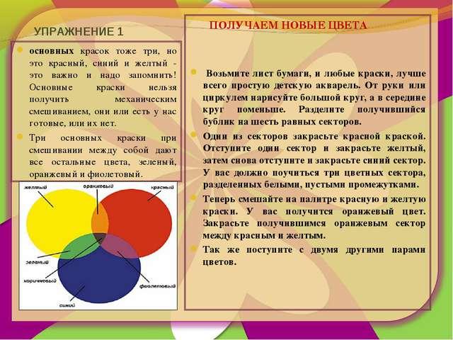 УПРАЖНЕНИЕ 1 основных красок тоже три, но это красный, синий и желтый - это в...