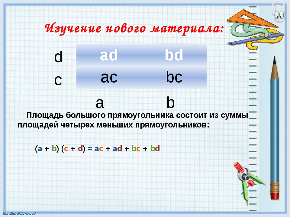 Изучение нового материала: Площадь большого прямоугольника состоит из суммы п...