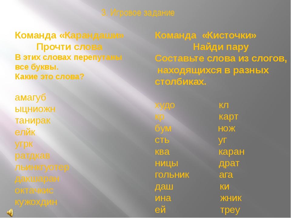 Команда «Карандаши» Прочти слова В этих словах перепутаны все буквы. Какие эт...