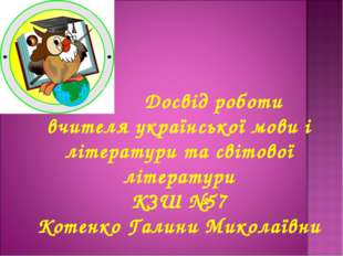 Досвід роботи вчителя української мови і літератури та світової літератури К
