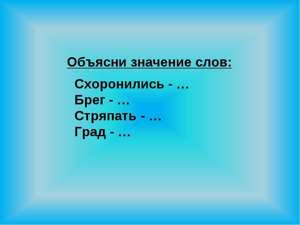 Объясни значение слов: Схоронились - … Брег - … Стряпать - … Град - …