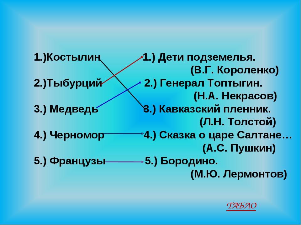 1.)Костылин 1.) Дети подземелья. (В.Г. Короленко) 2.)Тыбурций 2.) Генерал То...
