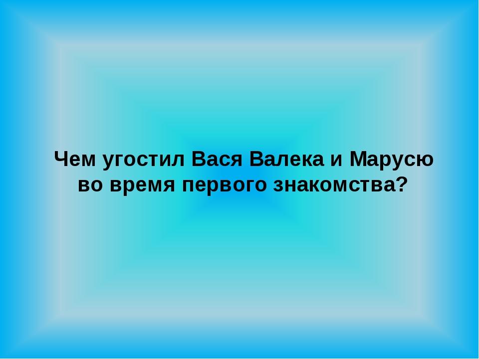 Чем угостил Вася Валека и Марусю во время первого знакомства?