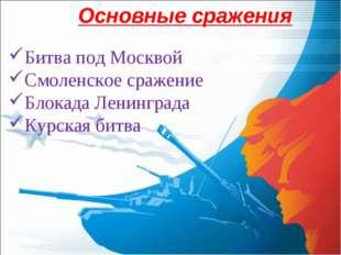 Основные сражения Битва под Москвой Смоленское сражение Блокада Ленинграда Ку