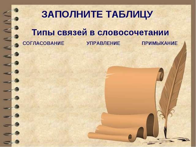 * ЗАПОЛНИТЕ ТАБЛИЦУ Типы связей в словосочетании СОГЛАСОВАНИЕУПРАВЛЕНИЕ ПРИ...