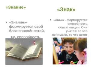 «Знание» «Знание»- формируется свой блок способностей, т.е. способность рабо