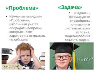 «Проблема» Изучая метапредмет «Проблема», школьники учатся обсуждать вопросы