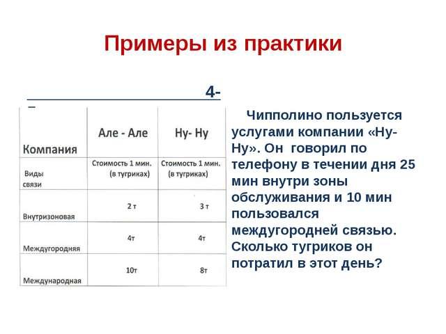 Примеры из практики 4-5 класс Чипполино пользуется услугами компании «Ну-Ну»....
