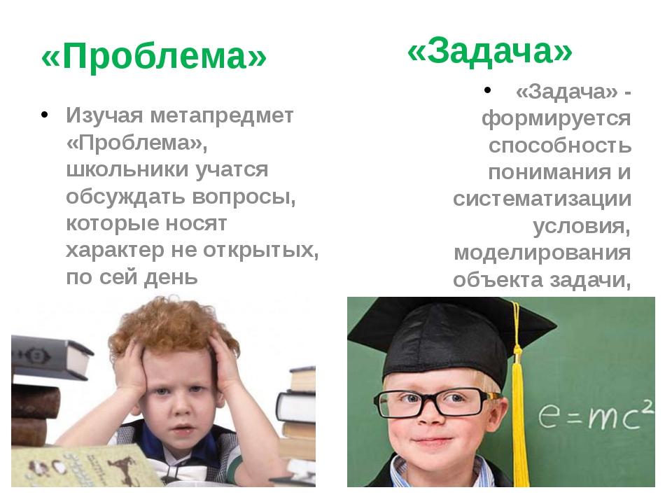 «Проблема» Изучая метапредмет «Проблема», школьники учатся обсуждать вопросы...