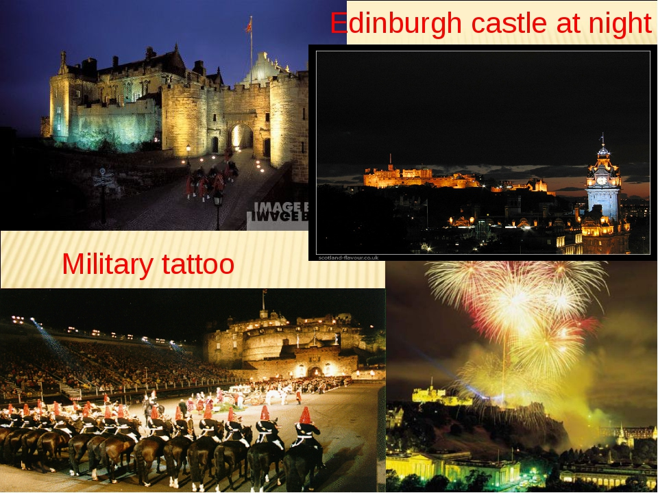 Military tattoo Edinburgh castle at night