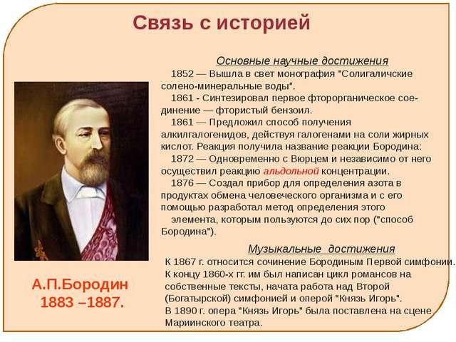 А.П.Бородин 1883 –1887. Основные научные достижения 1852 — Вышла в свет моно...