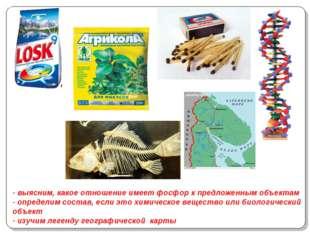 - выясним, какое отношение имеет фосфор к предложенным объектам - определим