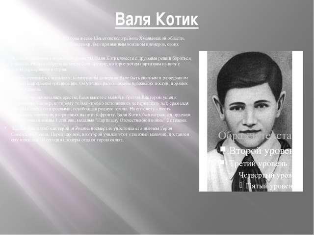 Валя Котик Он родился 11 февраля 1930 года в селе Шепетовского района Хмельни...