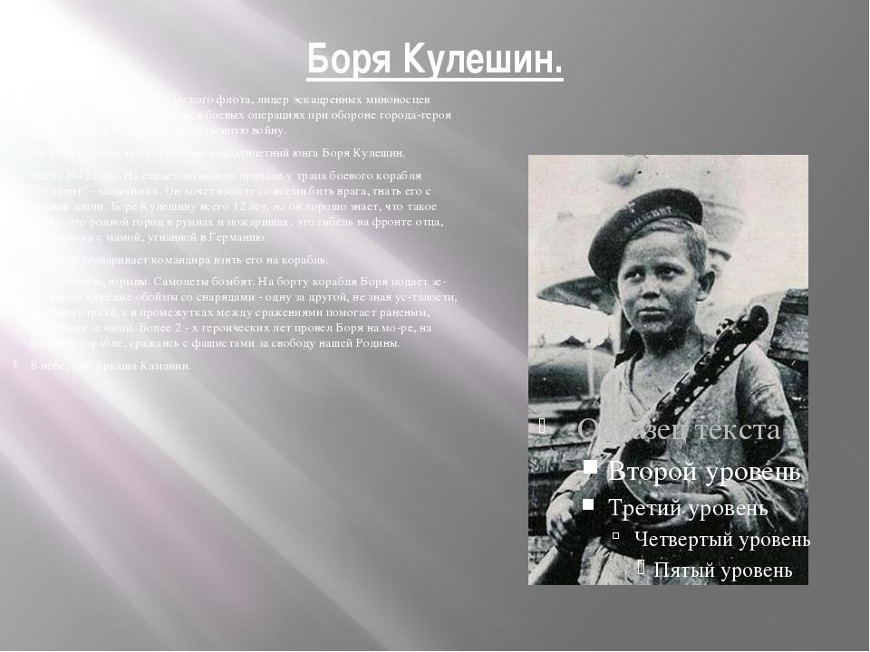 Боря Кулешин. Военный корабль Черноморского флота, лидер эскадренных миноносц...
